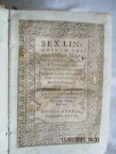 altes Wörterbuch 1579, Sex Linguarum, 6 Sprachen, in Pergament