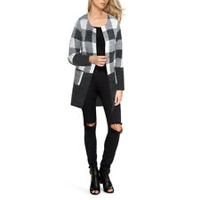 NEW LADIES BLACK  GREY WHITE  PLAID OPEN FRONT WOOL BLEND CARDIGAN 10-12 ONLY