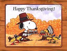 "TIN-UPS Tin Sign ""Snoopy Happy Thanksgiving"" Peanuts Movie Cartoon Art Poster"