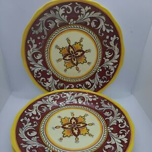 "Le Cadeaux Malaga Red And Yellow 11"" Dinner Plates- Melamine set of 3 - New"