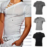 Men Short Sleeve Shirts Casual Lace Up T-shirt Cotton Slim Fit Muscle Tee Tops