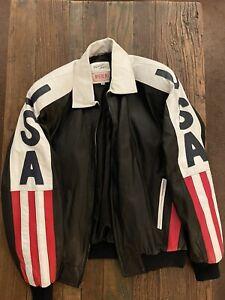 Vintage Michael Hoban WhereMI LT Leather Motorcycle Bomber American Flag Jacket