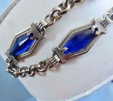 "Glass ~ Chrome ~ Chain Watch Fob 10"" 1930'S Art Deco Jakob Bengel ~ Blue Deco"