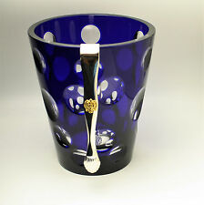 Faberge Cobalt Blue Bubbles Ice Bucket with Tongs