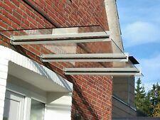 Edelstahl Vordach Geschliffen K240 mit Milchglas VSG in 230cm x 120cm x 12,76mm