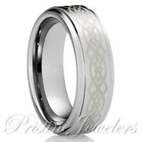 NEW Tungsten Carbide Silver Celtic Knots Mens Jewelry Wedding Band Promise Ring