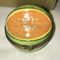 LIMOGES Signed FA Hand Painted Peint Main Fruit Orange Melon Trinket Box Insect
