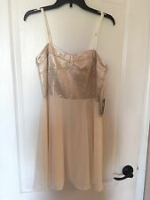 NEW WT Express Women's Size 12 Cream Color Dress W/ Shiny Gold Bust