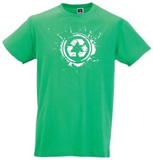 Tee Shirt Vert Vintage Splash Recycled  M L XL XXL Original Rétro Recyclé