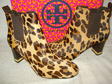 100% AUTHENTIC NEW WOMEN TORY BURCH APRIL LEOPARD PRINT ANKLE BOOTS US 8.5