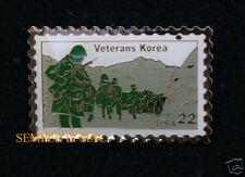 KOREAN WAR STAMP HAT PIN VETERAN VET KOREA US NAVY ARMY AIR FORCE MARINES USCG