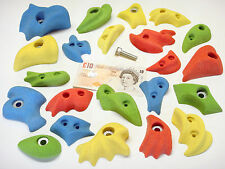 22x MIX COLOUR  BOLT-ON & SCREW-ON ROCK CLIMBING WALL HOLDS SET WITHOUT FIXINGS