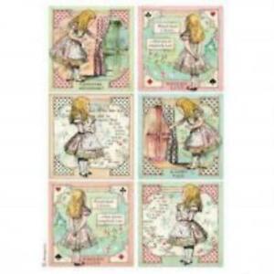 A4 Rice paper - Alice in Wonderland cards design decoupage paper, scrapbook shee