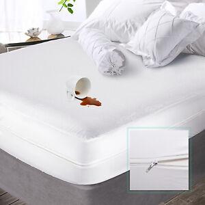 Premium Zippered Mattress Encasement Waterproof Cotton Terry Mattress Protector