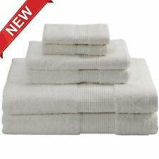 6Pcs Bathroom Cotton Towel Set 2xBath Towels 2xHand Towels 2xWashcloths White