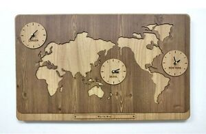 Large World Map Wooden Wall Clock DIY Puzzle Home Decor Interior Gift - Beige