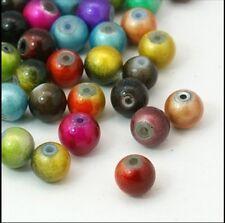 * liquidación * 100 Pintado Perlas De Vidrio De 6mm Mixto Color * liquidación *.