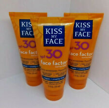 3X Kiss My Face SPF 30 Face Factor Sunscreen Lot 2021 w/Hydresia Vegan 2 oz Each