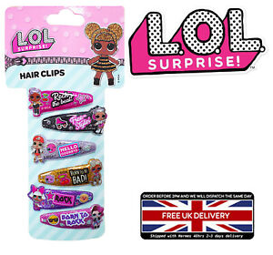 GIRLS L.O.L * LOL * SURPRISE CHARACTER 6 HAIR BOW CLIP WITH DOLL ICON JEWELLERY