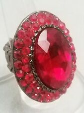 """Red Oval Large Cocktail Ring Crystal 1.5"""" Silver Plated Stretch Band Formal"""