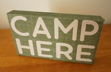Camp Here Wood Framed Canvas Sign Rustic Lodge Camping Log Cabin Home Decor New