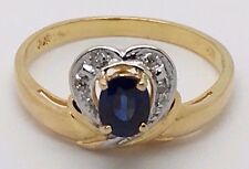14K YELLOW GOLD BLUE SAPPHIRE HEART RING WITH CUBIC ZIRCON STONES