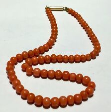 Antique possibly Chinese natural no dye medium RED SALMON coral necklace