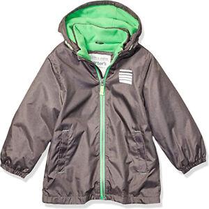 Carter's Boys Grey & Green Mid-Weight Fleece Lined Jacket Size 4 5/6 7