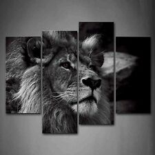 Black And White Gray Lion Head Portrait Wall Art Painting Pictures Print On C...
