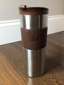 Starbucks VIA Ready Brew Stainless Steel Brown Travel Tumbler Coffee Mug - USED