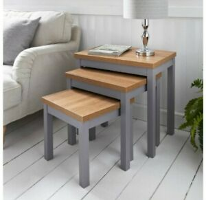 MILLBROOK Oak Top Nest of Tables Set of 3 Occasional Coffee Side Table Grey New