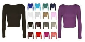 Ladies Women Crop Basic Long Sleeve T Shirt Short Plain Round Crew Neck Top 8-14