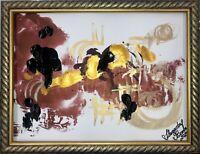 ORIGINAL Malerei PAINTING abstract abstrakt lanscape landschaft gold zeichnung