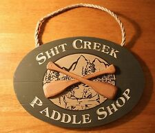 SH*T CREEK PADDLE SHOP Rustic Lodge Green Canoe Cabin 2Sided Sign Home Decor NEW
