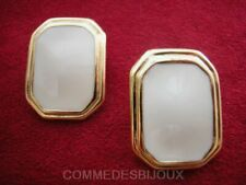"Boucles d'oreille ""Rectangle"" émaillé N° 3 Blanc 70's - Bijoux Vintage Sphinx"