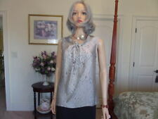 Ann Klein 100% Silk Beige/Black Striped Career Blouse Size 10