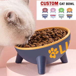 15°Tilted Cat Feeding Bowls w/ Stand Personlised Name Pet Dog Water Dish Feeder