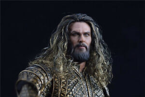 1/6 Man Male Head Carved Aquaman Head Sculpt Planted Hair For 12'' Action Figure