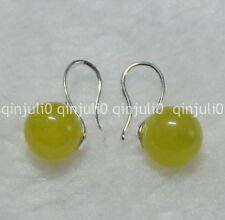 Natural 10mm round peridot gemstone Beads silver Hook Dangle Earrings JE87