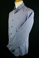 Spitalfields shirt co Mens blue white check long sleeve button down collar uk M