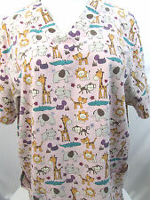 Carol's Scrubs Womens SCRUB TOP 2X Giraffe Lion Elephant Monkey Nurse Vet Tech