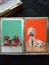 Vintage CONGRESS 2-Deck Playing Cards CEL-U-TONE Finish Both Complete Cute Pups
