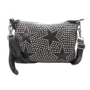 Damen Handtasche mit Nieten und Stern Applikationen kleine Tasche in Lederoptik