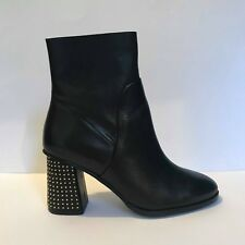 Next Plain Black Leather Gold Studded Low Block Heel Ankle Boots UK 6 EU 39