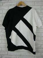 Adidas Mens Sweater top Short sleeve Black, white print Sz XL