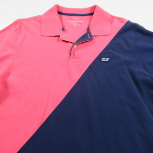 Vineyard Vines Polo Shirt Pink Blue Striped Whale Logo MENS Classic Fit MEDIUM