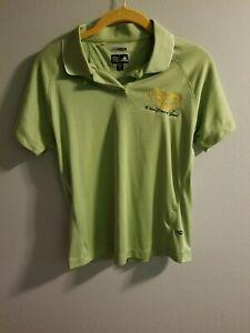 Womens M Adidas Busch Gardens Tampa Cheetah Hunt Employee Polo Shirt Green