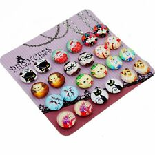 Lovely Carton Cat Glass Dome Magnetic Clip-on Earrings for Teen Girls Kids Women