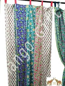 Indian Hand Block print Partchwork Boho Curtain Window Panels 100%Cotton Floral