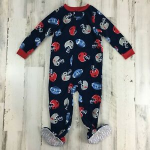 Carters Boys Sz 3T Blue Football Fleece Footed Pajama Sleeper Zip Up Footie NWT
